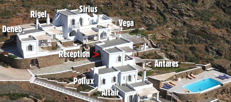 Un complexe d' appartements récemment bâtis au lieudit de Fournaria à proximité de la chapelle de St. Marc (Agios Markos), Tinos | altair | antares | deneb | pollux | rigel | sirius | vega