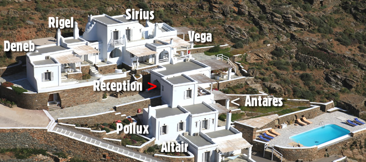Vega Apartments in Tinos, Cyclades: altair | antares | deneb | pollux | rigel | sirius | vega