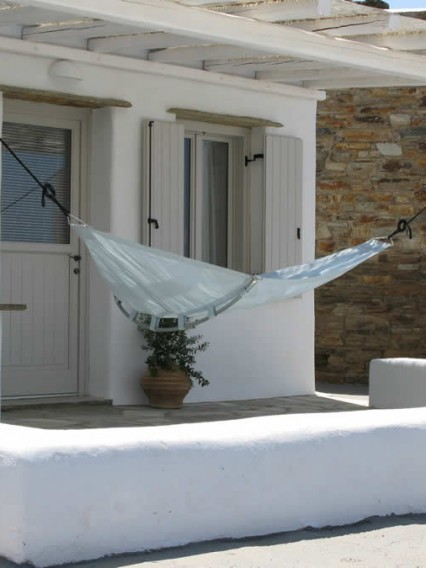 Altair, Bedroom with double bed, bathroom, Vega Apartments in Tinos island, Cyclades