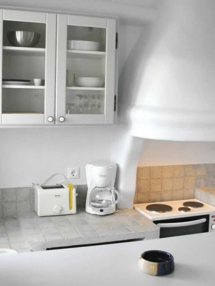 Antares, Studio apartment with double bed, bathroom, kitchen, settee/bed, TV, Vega Apartments in Tinos island, Cyclades